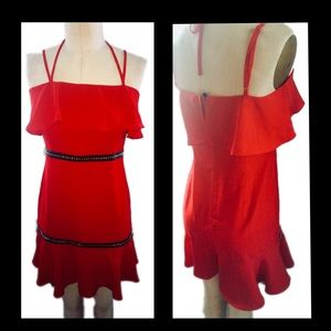 NWT Nasty gal Red Mini Dress with Ruffles size 8